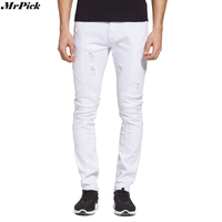 Men Biker Jeans Designer Skinny Destroyed Strech White Jeans Fashion Motocycle Ripped Jeans Y1701