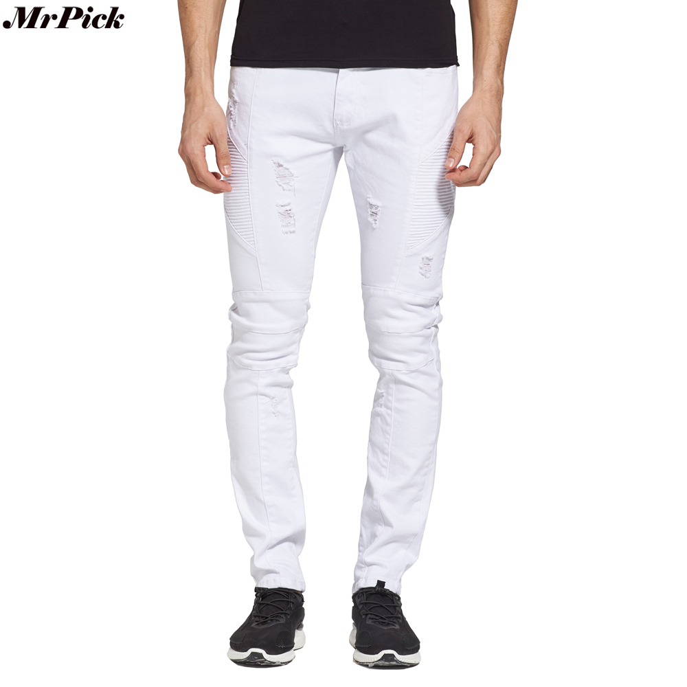 Men Biker   Jeans   Designer Skinny Destroyed Stretch White   Jeans   Fashion Motorcycle Ripped   Jeans   Y1701