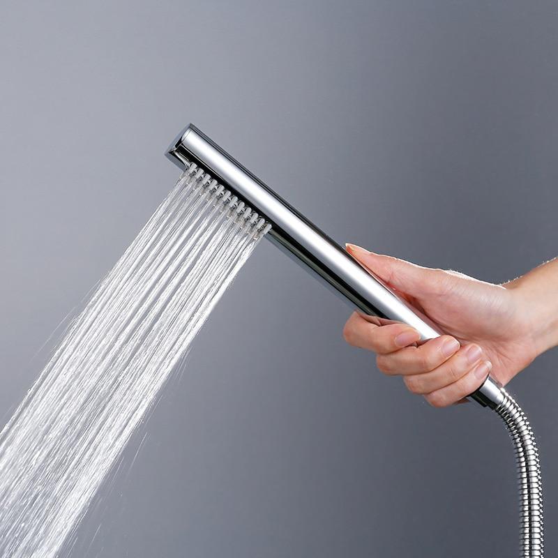 Латунная хромированная ручная Лейка для душа с шлангом 1,5 метра, яркий утолщенный хромированный круглый дизайн, ручной душ, бесплатная дост...