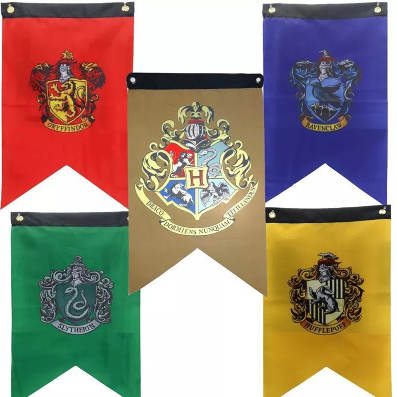 Humorous 5pcs/pack Harry Potter Gryffindor Hufflepuff Slytherin Hogwarts College Flag Bar Ktv Home Decor Polyester Banner Party Gift Toys Large Assortment Action & Toy Figures