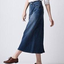 2019 Summe Spring Women High Waist Slim Sexy long Denim Skirt Female Maxi Pencil Jeans Skirts plus size