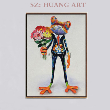 Artist Hand-painted Modern Funny Animal Frog with Halley Motorcycle Oil Painting on Canvas Funny Cartoon Frog Oil Painting