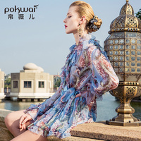 POKWAI Mini Bohemian Floral Sheath Women Silk Dress New Fashion High Quality Sexy V Neck Full Butterfly Sleeve Print Dresses