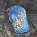 De LAS MUJERES del personalizar BRICOLAJE FLOR de Bling del Rhinestone gorra de Béisbol de Mezclilla ocasionales capsnapback caps sombrero