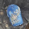 WOMEN DIY  customize  FLOWER Rhinestone Bling Denim  Baseball capSnapback caps hat