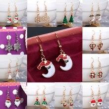 Sale Christmas Crystal Snowman Dangle Earrings Muti-Color Ear Earrings For Women Girls Fashion Jewelry
