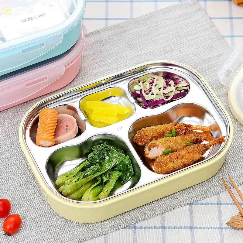 Stainless Steel Lunch Box for School Lunch Bento Containers Rectangle Cartoon 5 Compartments Kids Containers for Food Storage
