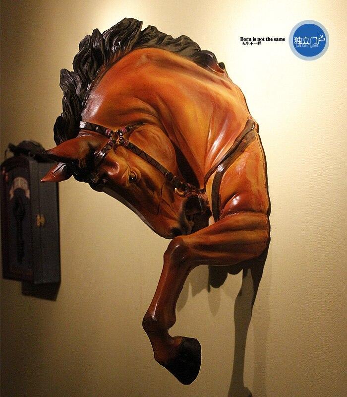 Cabeça de Cavalo Decoração da Parede de Artesanato Decoração da Parede Sala de Estar Decoração da Sua Americano Criativo Resina Guerra Estátua Animal Cabeça Bar Figurinhas Casa