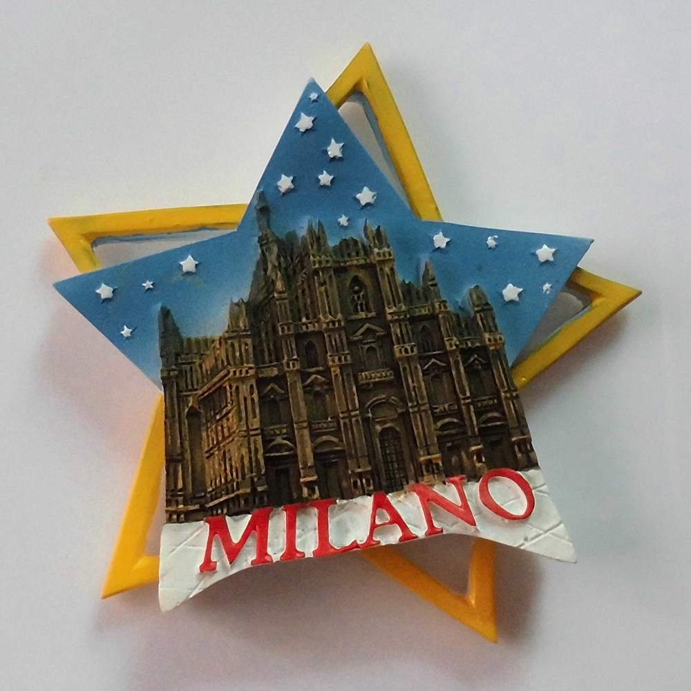 Italy Milan Cathedral Shaped Pentagram Fridge Magnets World Scenery Tourist Souvenirs Magnetic Stickers Home Decor Tourism Gifts
