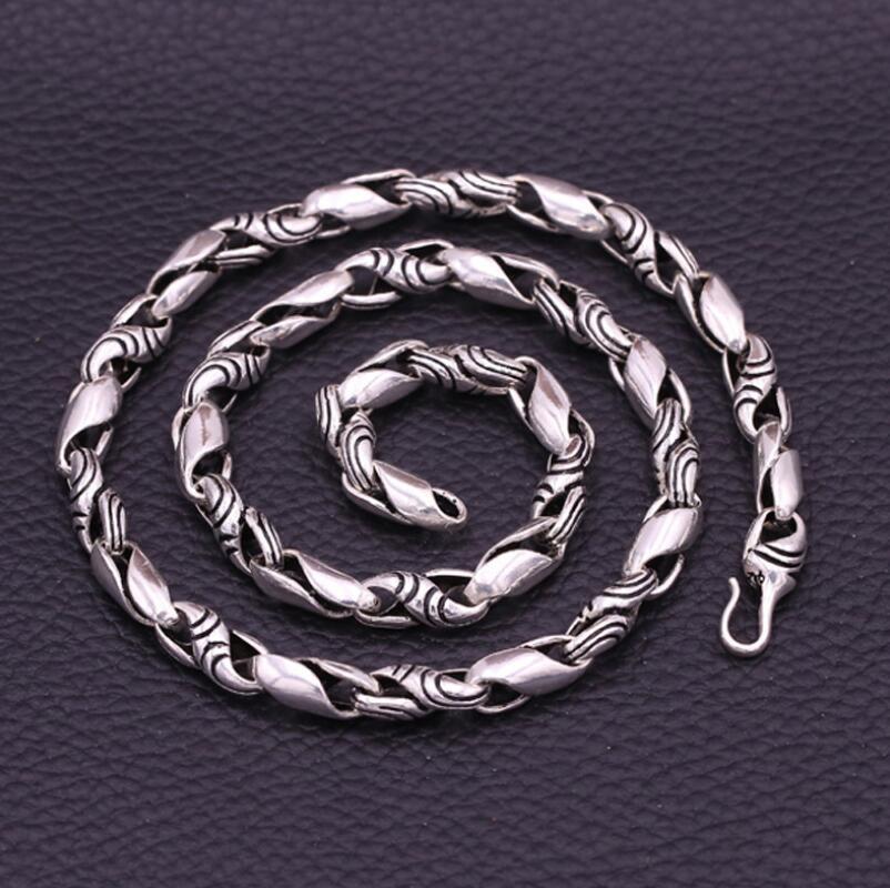 Pur argent 7mm d'épaisseur S925 Sterling 925 bijoux en argent Style Punk collier pour hommes