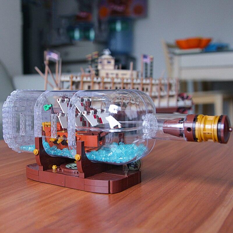 16051 Créateur Idées Pirates des Caraïbes Le Bateau dans une Bouteille Building Block Briques Jouets De Noël Cadeau Compatible Legoings