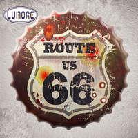 USA Route 66 Road Bottle Cap Decorative Metal Tin Plaque Vintage Pub Plate Garage Pub Bar
