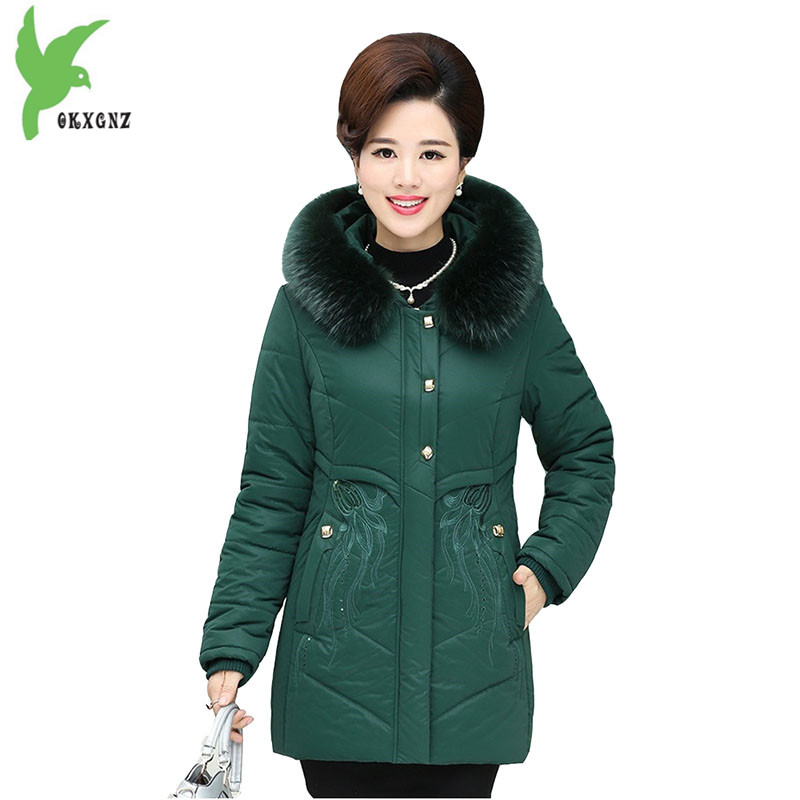 Winter Warm Cotton Jacket Mother Clothing Plus Size Hooded Fur Collar Women Coats Solid Color Casual