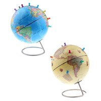 25cm World Map Earth Globe with Magnetic Pins Geography Learning Educational Toy for Children School Teaching Aid Supplies Gift