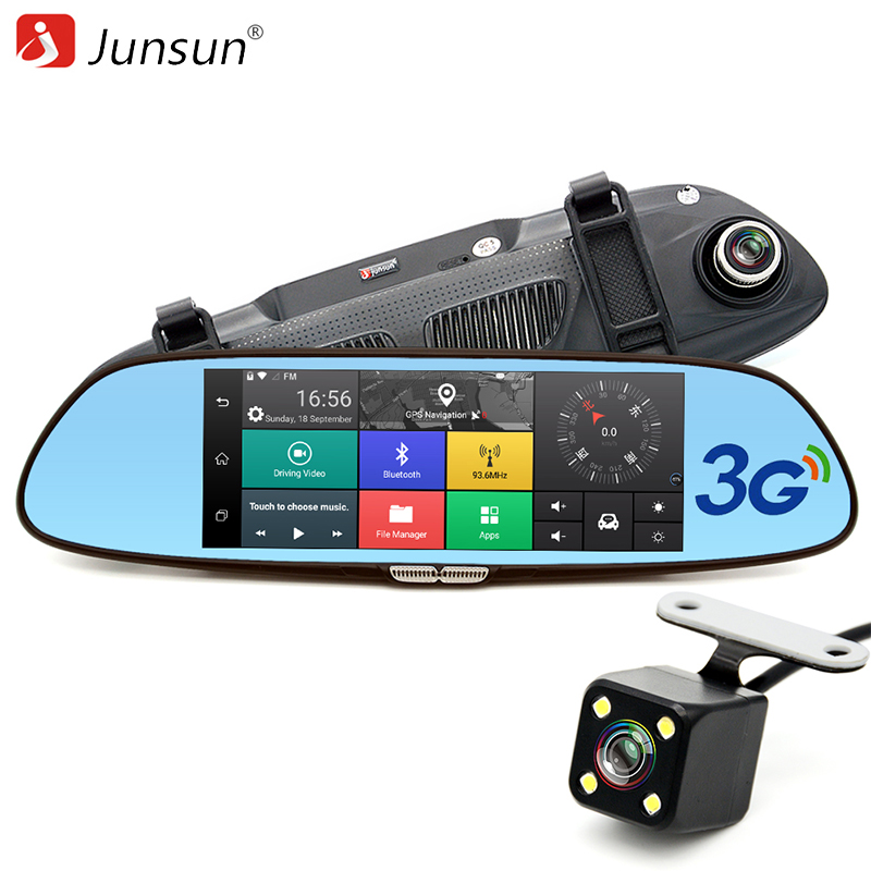 Junsun 7 3G Car Camera DVR GPS Bluetooth Dual Lens Rearview Mirror Video Recorder Full HD