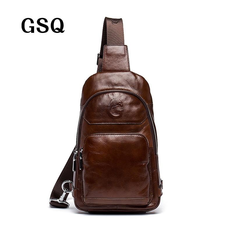 GSQ 2016 Hot Genuine Leather Men Shoulder Bag Fashion Trending Oil Wax Leather Mens Crossbody Bag