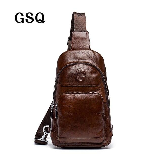 GSQ 2016 Hot Genuine Leather Men Shoulder Bag Moda Trending Mens de Couro de Cera de petróleo Saco Crossbody Pacote Peito Dos Homens de Café sacos