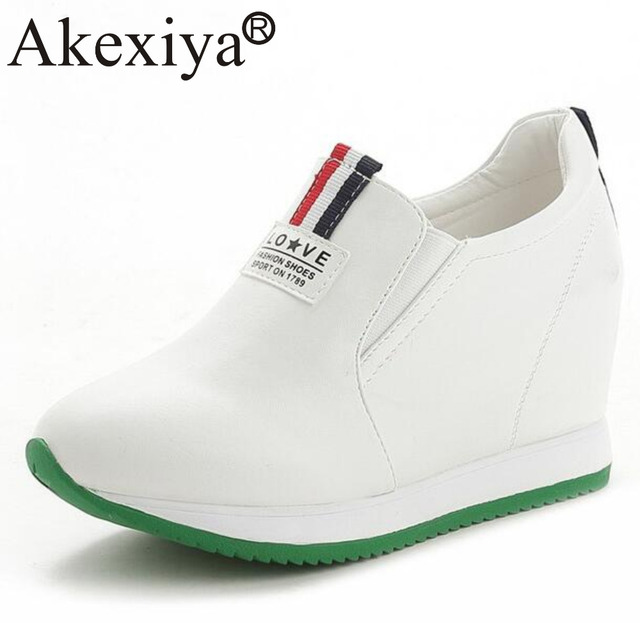 a292921748c9 Akexiya Spring Autumn Women PU Leather Hidden Heels Platform Wedges Sneakers  For Woman Outdoor Running Shoes