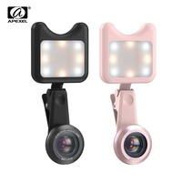 APEXEL Selfie Phone Lens LED Flashlight Portable Universal Selfie Lamp Upgrade Macro Wide Angle Lenses Selfie Lamp for iphone