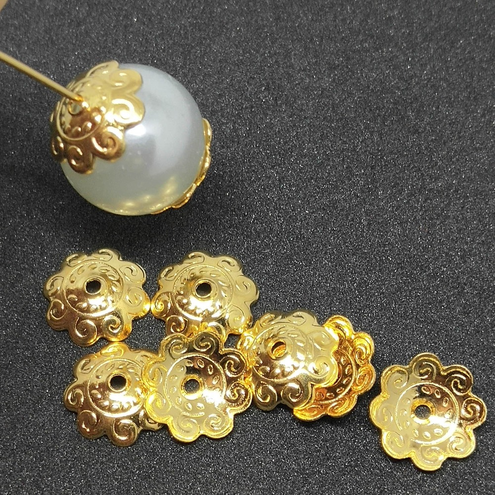 Stainless Steel Gold Tone Flowers Bead Caps For Jewelry Making & Components Hollow Caps Fit DIY Accessories Jewelry Findings
