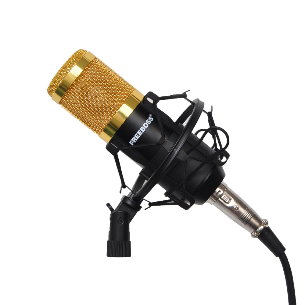 FREEBOSS BM-800 Professional Condenser Microphone with 3.5mm Jack and Metal Shock Mount Wired Microphone for Recording Chorus