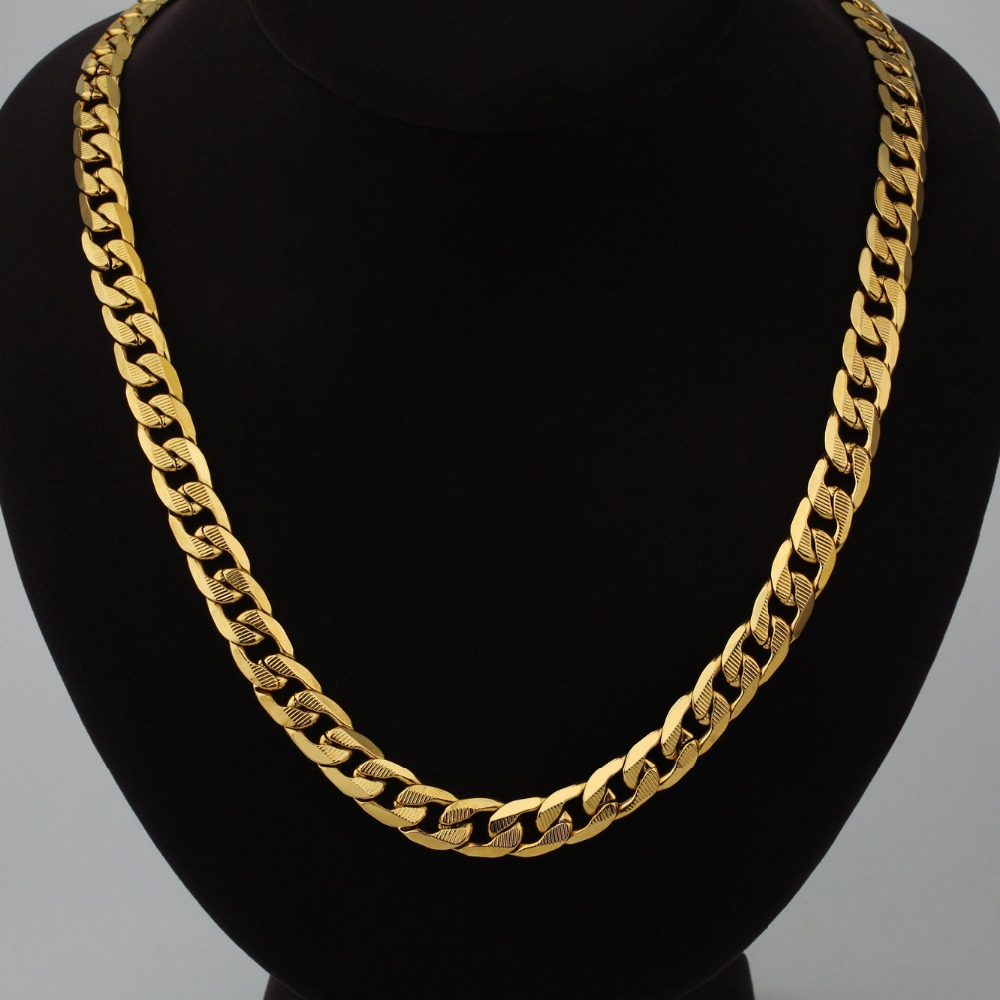 Collar de cadena larga para hombres Hip Hop Miami Golden Color Curb Cuban Linked Chain Collar para hombres Joyería 12MM Collares masculinos