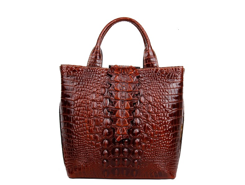 high quality woman leather handbags vintage crocodile pattern lady handbag female new arrival new arrival ship pattern design brooch for female