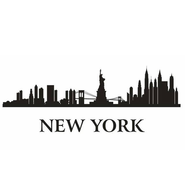 NEW YORK City Decal Landmark Skyline Wall Stickers Sketch ...