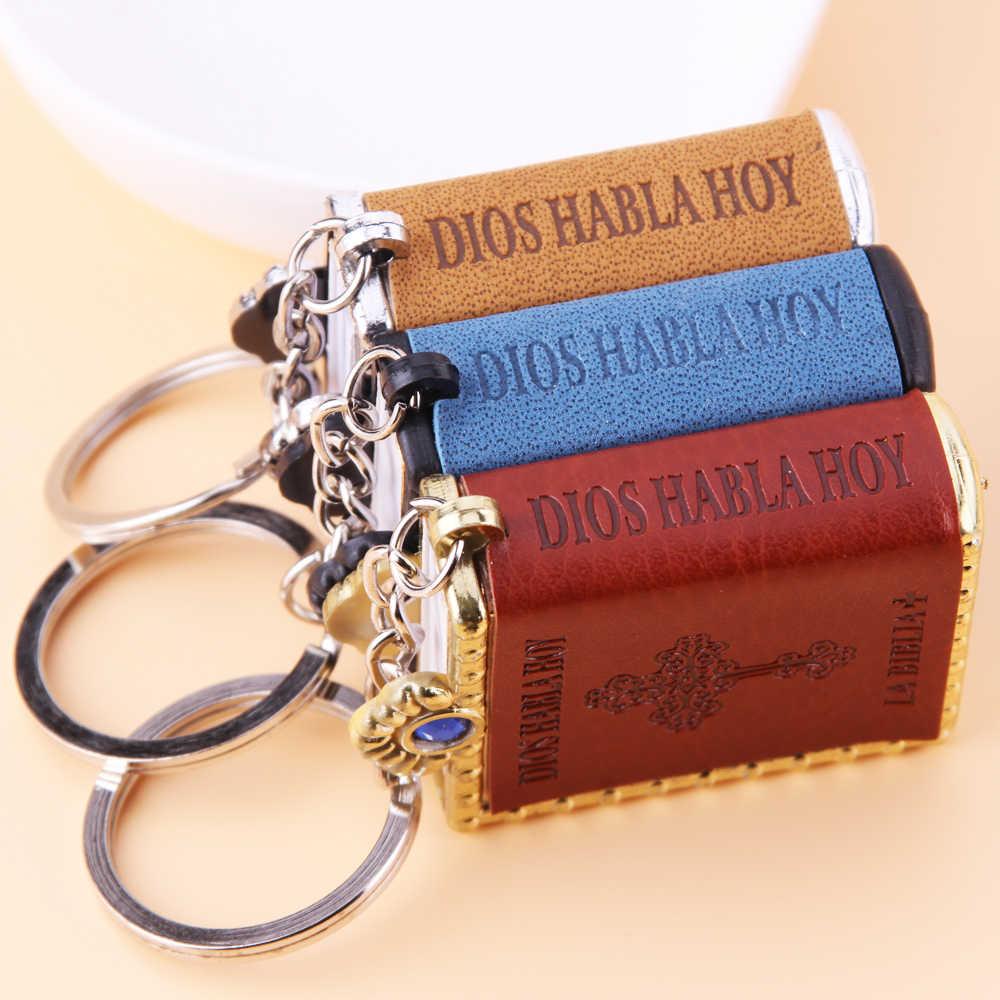 Spanish Mini HOLY Bible Keychain Religious Christian Jesus Cross Key Chain  Women Prayer God Bless Gift 60f305325ee1