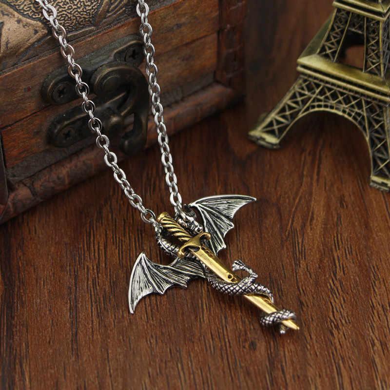 DongshengLuminous smok miecz wisiorek naszyjnik gra o tron łańcuch długi naszyjnik pterozaura miecz biżuteria mężczyźni Punk naszyjnik-30
