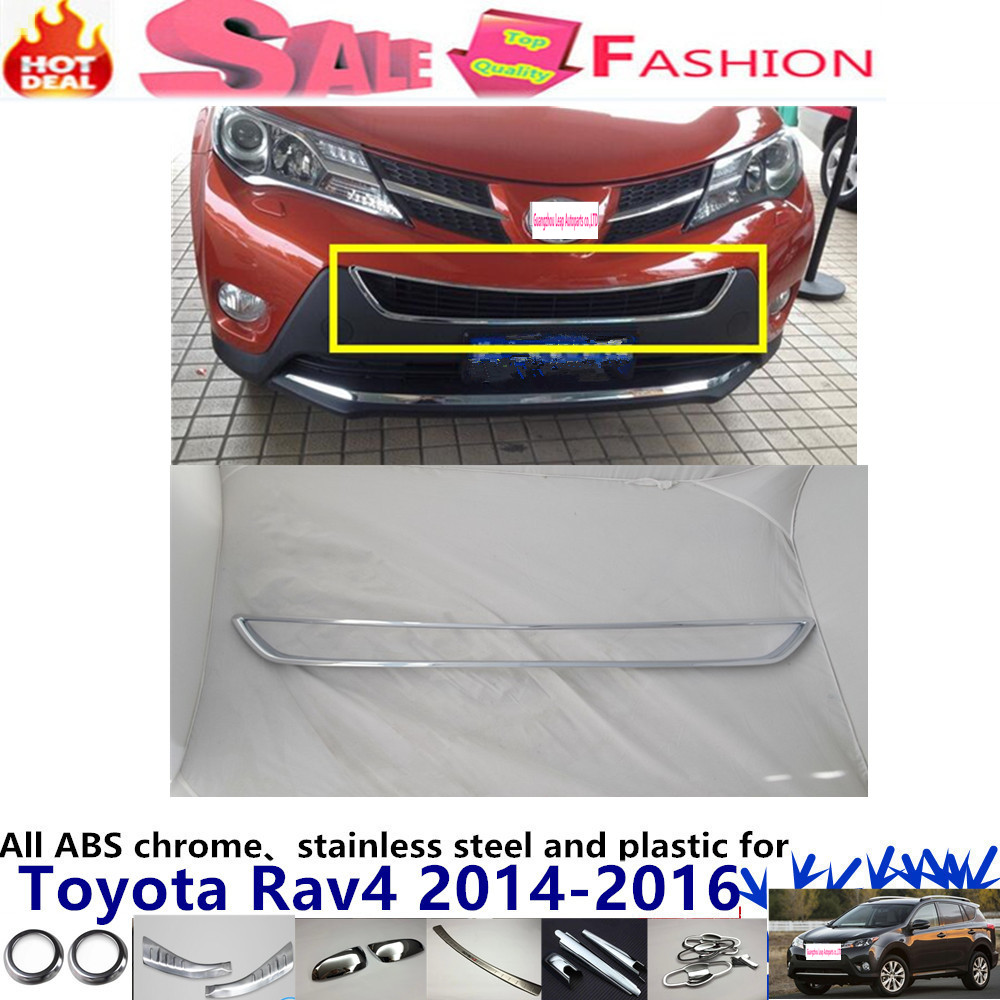 car body ABS chrome Lamp trim head Front bottom Grid Grill Grille Modling Strip frame 1pcs for Toyota RAV4 2014 2015 2016