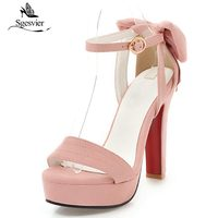 Sgesvier 2018 New Summer Sexy Sandals Thick Heels Platform Shoes Woman Super High Heel Dress Party Bowtie Shoes Open Toe B220