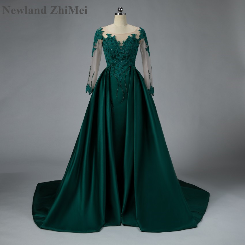 Newland ZhiMei Arabic Emerald Green   Prom     Dress   Luxury Detachable Train Satin Lace Beaded Formal   Dress   for Muslim Party Theme