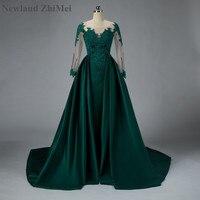 Newland ZhiMei Arabic Emerald Green Prom Dress Luxury Detachable Train Satin Lace Beaded Formal Dress for Muslim Party Theme