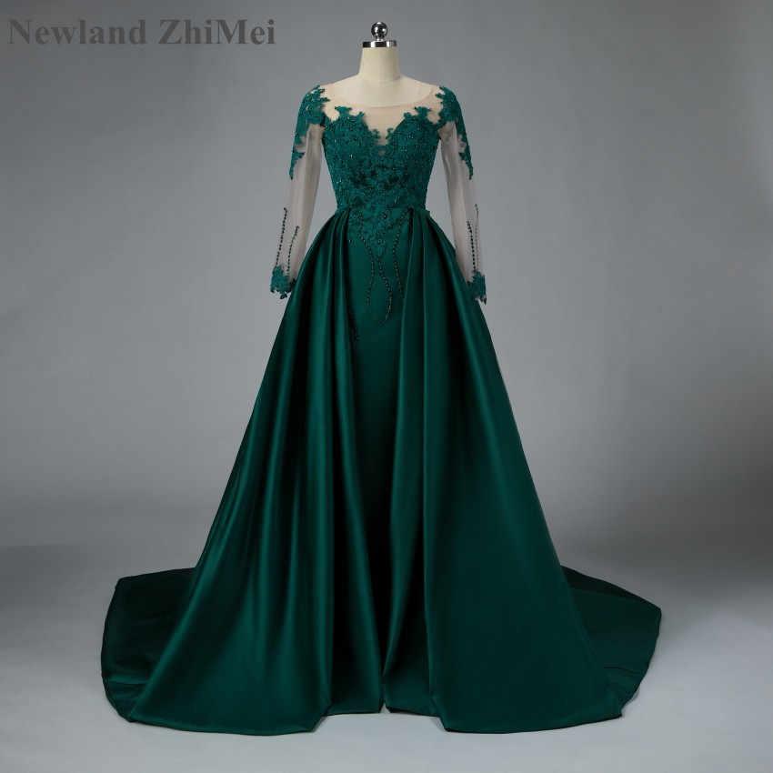 Newland ZhiMei арабский изумрудно-зеленый, на выпускной платье роскошный Съемный шлейф платья из сатина с кружевами и бисером торжественное платье для мусульманских для вечеринки