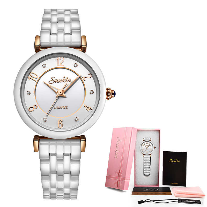 SUNKTA 女性腕時計セラミック防水時計女性はカジュアルなファッションの女性はリロイ Mujer 超薄型黒時計ギフト