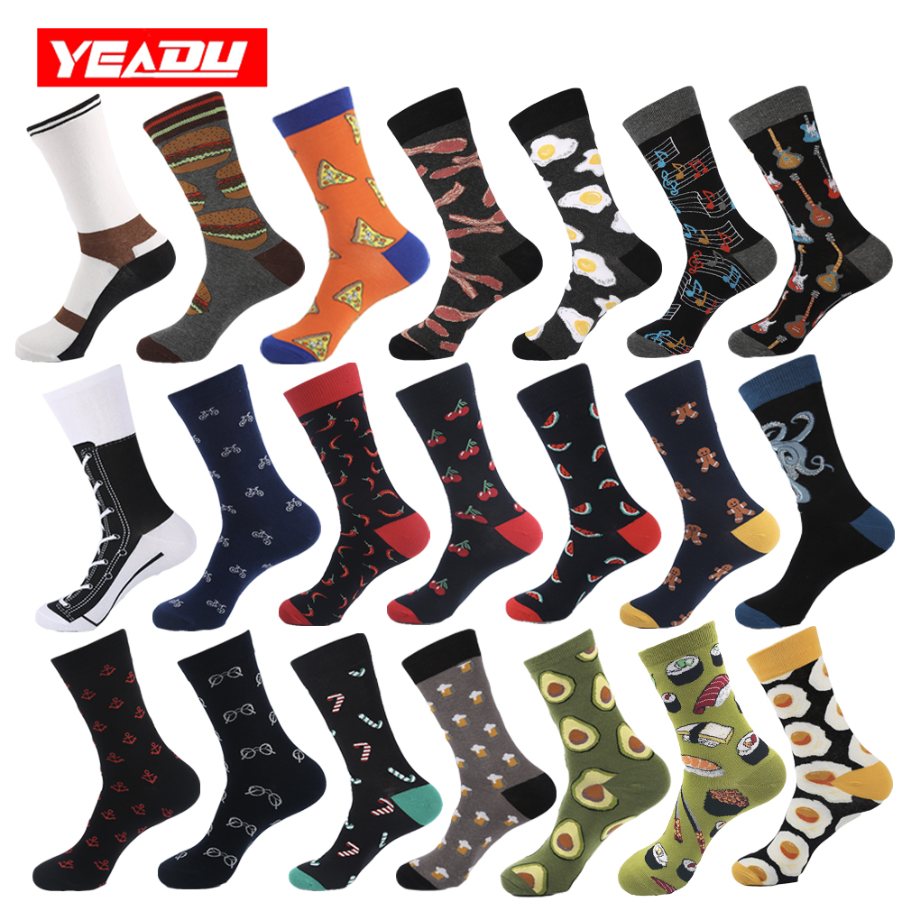 YEADU Cotton Men's Business Socks Harajuku Hip Hop Happy Colorful Funny Food Animal Sushi Dress Socks For Man Christmas Gift