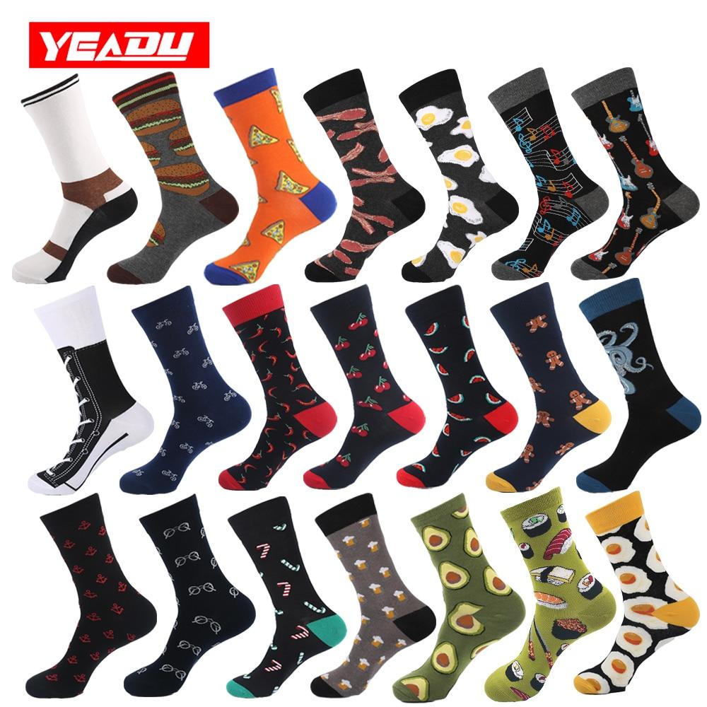 YEADU Cotton Men's Business Socks Harajuku Hip hop Happy Colorful Funny Food Ani