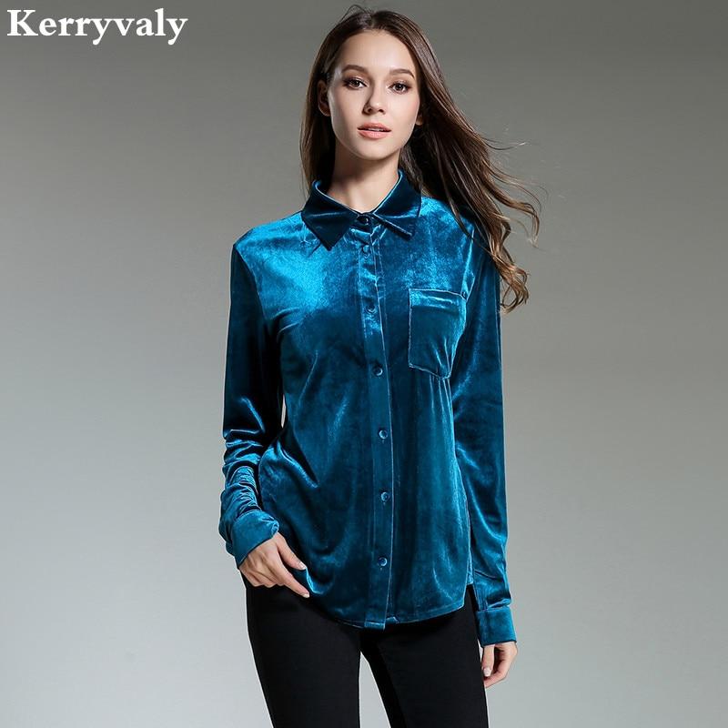 Spring Vintage Peacock Blue Velvet Shirt Women Clothes 2018 Retro Office Loose Women Tops Camisa Feminina