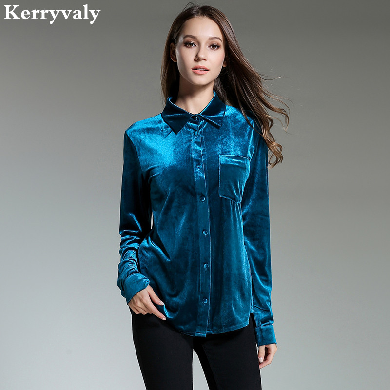 Spring Vintage Peacock Blue Velvet Shirt Women Clothes 2018 Retro Office Loose Women Tops Camisa Feminina