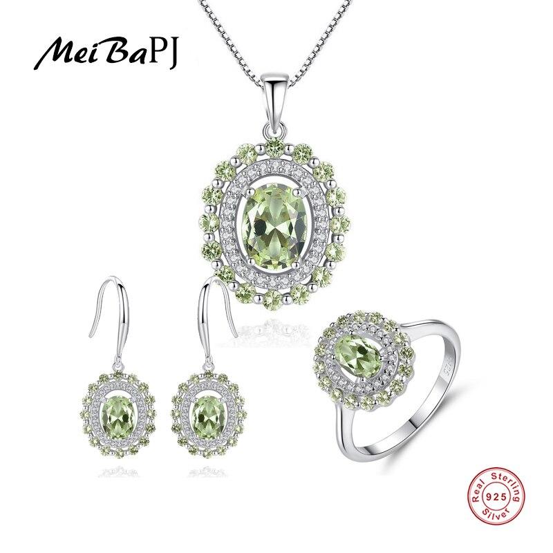 MeiBaPJ Peridot Stone 3 Suit Jewelry Set Real 925 Sterling Silver Pendant Earrings Ring Fine Charm