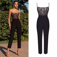 Womail bodysuit Women Summer fashion Sexy Casual Suspenders Lace Long Jumpsuit L