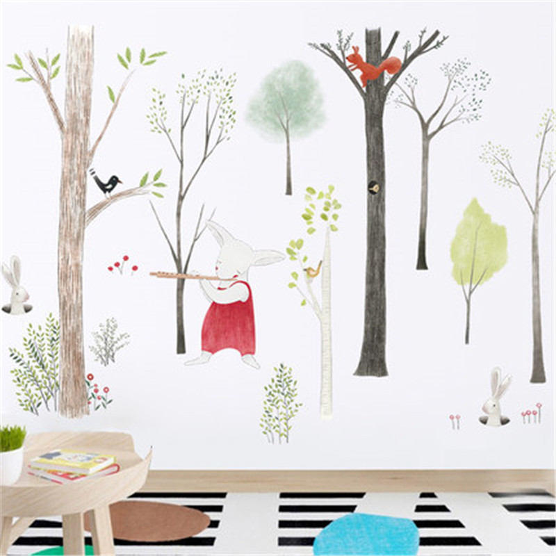 87-140cm-Large-Nordic-Style-Animal-Kids-Wall-Stickers-Cartoon-Tree-Forest-Children-Baby-Room-Wall (4)