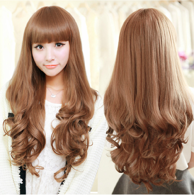 New Fashion Hairstyle High Quality Long Curly Wig Girls Fluffy Make