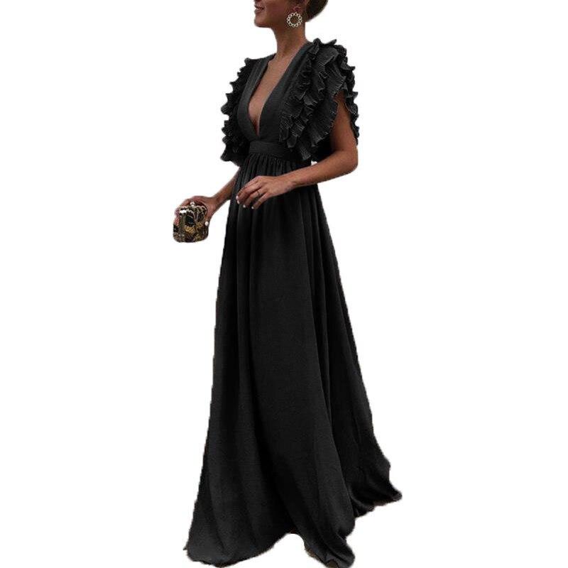Nouveauté femmes Cocktail complet Long sans manches bal dos nu col en V couleur unie robe d'été mouche manches élégant Sexy