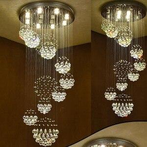 Image 3 - Long crystal chandelier lighting lustres lampadari modern stage chandelier LED light, clear crystal lighting fixtures