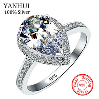 YANHUI Original Pure 925 Sterling Silver Water Drop Rings Natural Cubic Zirconia Oval Rings Band Wedding