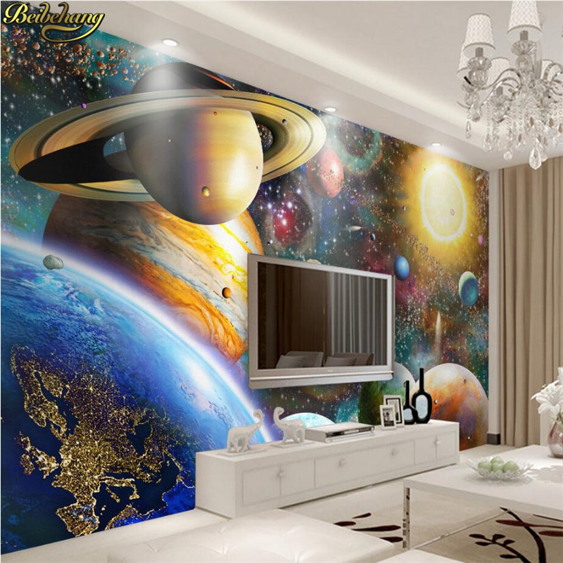Us 9 3 38 Off Beibehang Custom Photo 3d Wallpaper Large Fresco Space Cosmic Children Bedroom Bedroom Large Murals Papel De Parede Wall Paper In