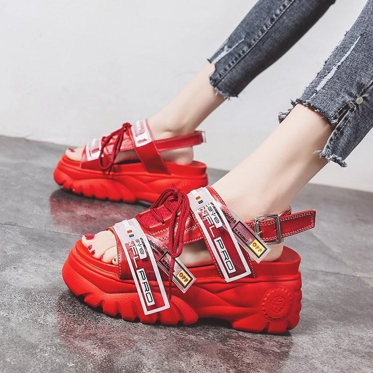 HTB1X6YoXoT1gK0jSZFhq6yAtVXaT 2019 Summer Chunky Sandals Women 8cm Wedge High Heels Shoes Female Buckle Platform Leather Casual Summer Slippers Woman Sandal