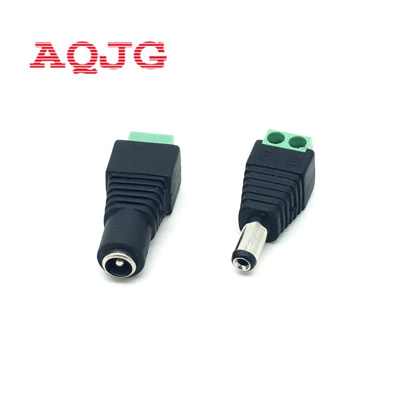 CCTV Cameras 2.1mm X 5.5mm Female Male DC Power Plug Adapter 5.5*2.1MM Package Include 5 Male And 5 Female Connector AQJG